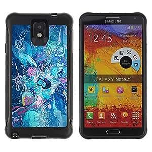 Hybrid Anti-Shock Defend Case for Samsung Galaxy Note 3 / Retro Fantasy Japanese Art