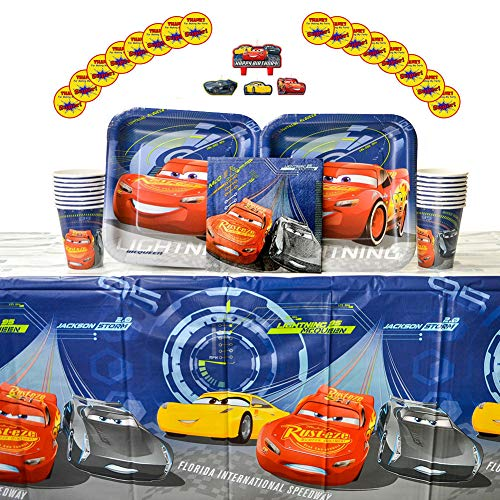 Cars 3 Party Supplies Pack for 16 Guests - Stickers, Candles, Dinner Plates, Luncheon Napkins, Cups, and Table -