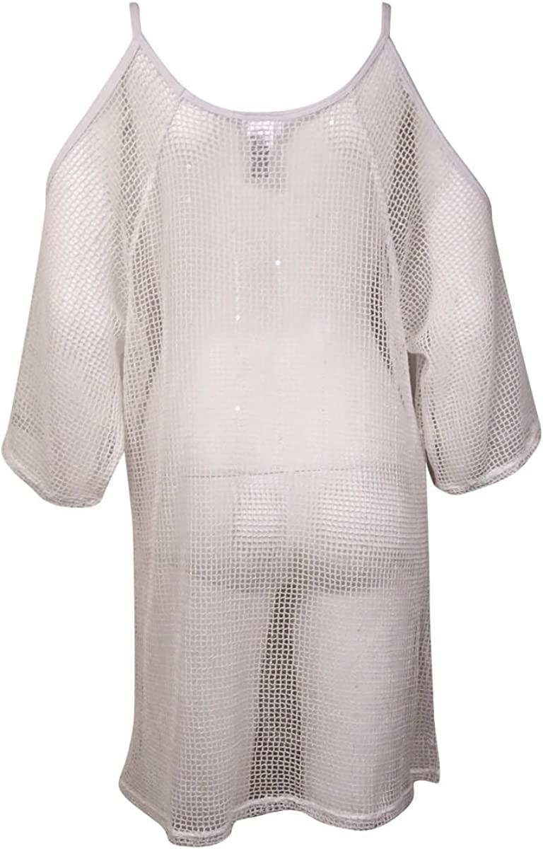 Dotti Womens Sheer Cover Up Cold Shoulder White
