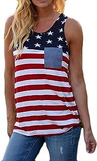 Vests Home Camiseta con Estampado de Rayas de Rayas de Rayas de Rayas de Rayas de Rayas de Rayas de Rayas de Rayas de América (Color : Red, Size : Small)