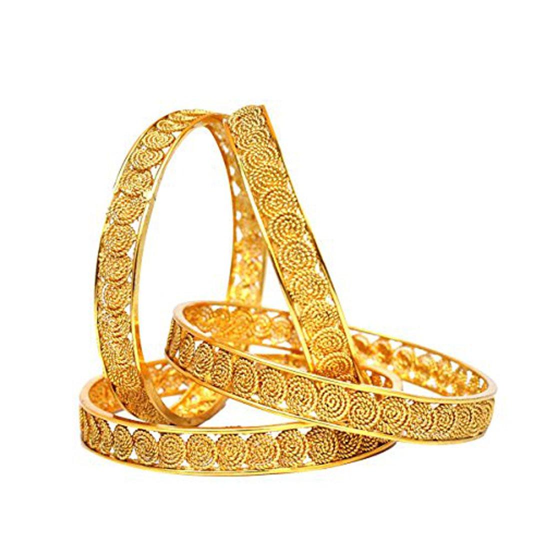 Buy Sanara Ethnic Gold Plated Bridal Bangle Kada Set Wedding Partywear Jewelry 2 6 At Amazon In