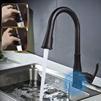 Touchless Kitchen Sink Faucets Motion Wave Sensor Single Handle Faucet with Dual Mode Pull Down Sprayer One Hole and Three Hole Deck Mount Stainless Steel Oil Rubbed Bronze…