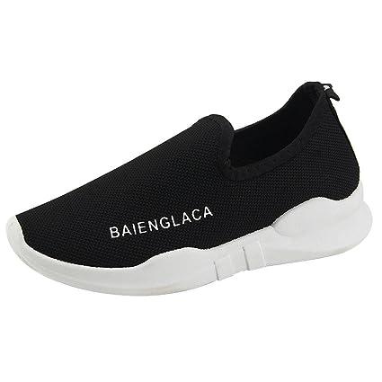 Zapatos deportes sin correa de mujer,Sonnena Zapatos de malla de color sólido para mujer