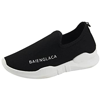 Zapatos deportes sin correa de mujer,Sonnena Zapatos de malla de color sólido para mujer Zapatillas de correr de ventilación de punta redonda Zapatos de ...