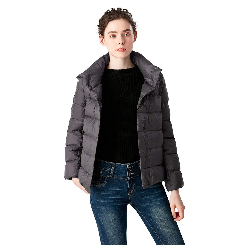 TIFENNY Women's Down Jacket Winter Coats Casual Stand Neck Light Coat Solid Color Short Button Pocket Down Jackets Gray by TIFENNY