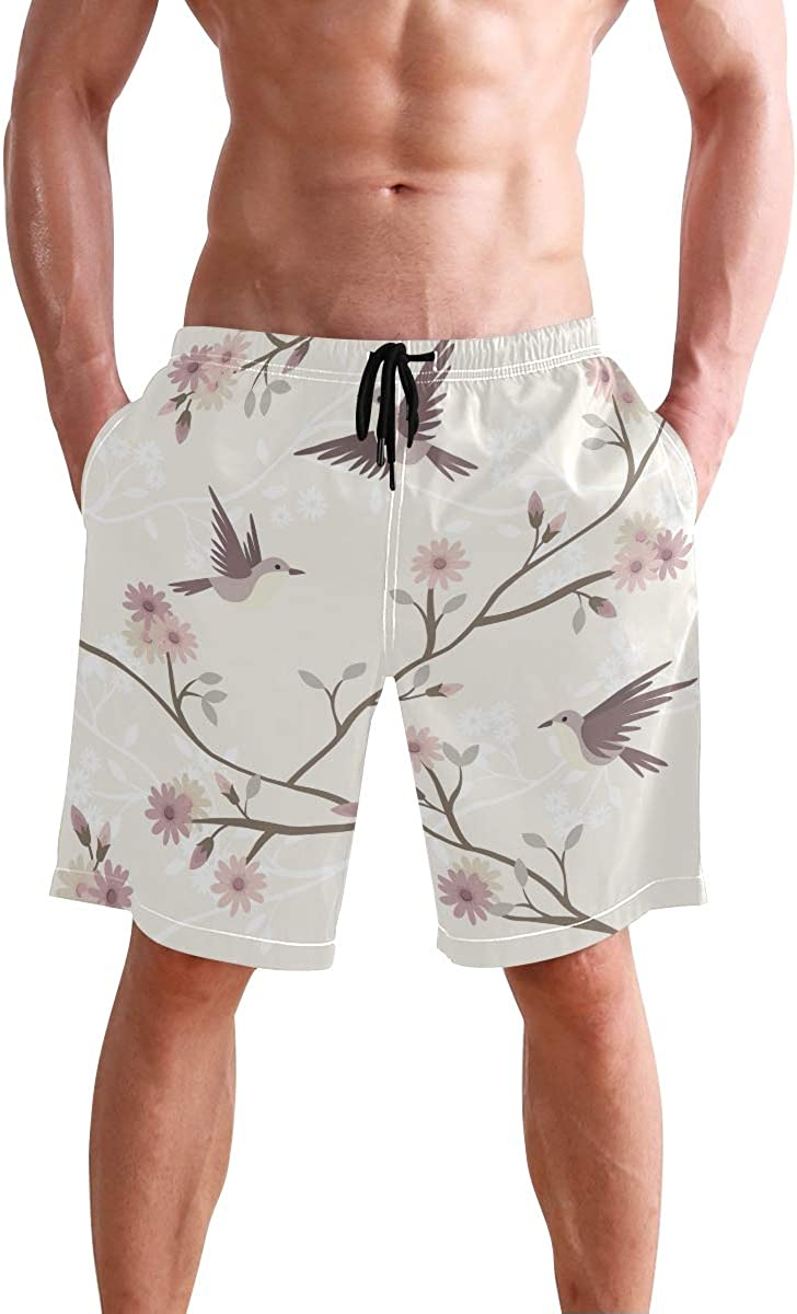 Tree Flowers Mens Beach Shorts Elastic Waist Pockets Lightweight Swimming Board Short Quick Dry Short Trunks