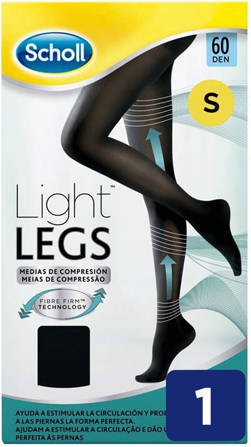 Scholl Medias de Compresión Ligera Mujer Light Legs 60DEN, Color Negro, S