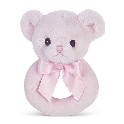 "Bearington Baby Huggie Plush Stuffed Animal Pink Teddy Bear Soft Ring Rattle, 5.5"" : Baby"