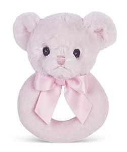 "Bearington Baby Huggie Plush Stuffed Animal Pink Teddy Bear Soft Ring Rattle, 5.5"""