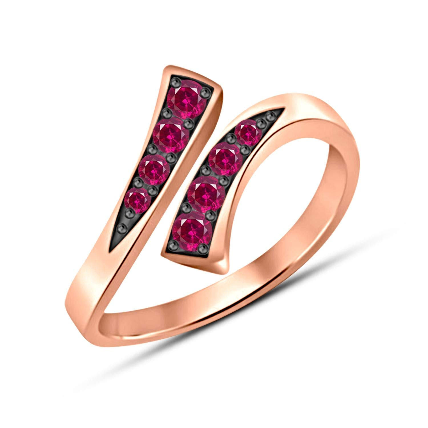 Gemstar Jewellery Designer Bypass Adjustable Toe Ring in 14k Two Tone Gold Finished Round Cut Red Ruby