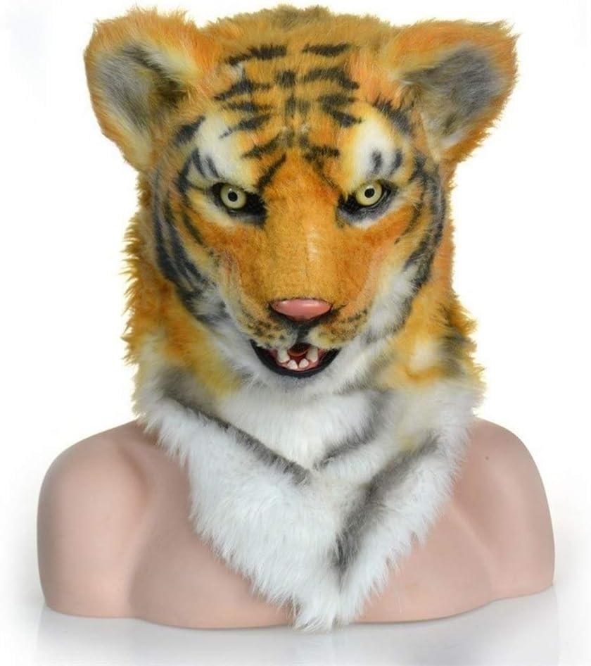 ハロウィーンシミュレーションマスクマスカレード性能シミュレーションぬいぐるみシベリアトラタイガー小道具の動物は、ライオンコスチュームマスク パーティーデコレーション (Color : Tiger, Size : One size)
