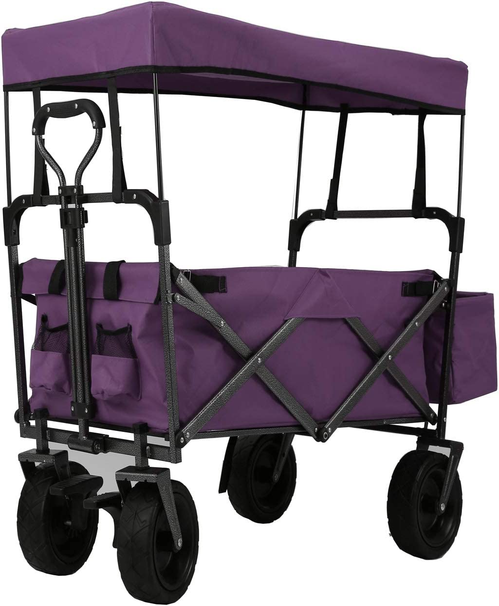 Easy Setup NO Tool Needed Free Carrying Bag Purple EXTEC Folding Stroller Wagon Collapsible with Canopy Outdoor Sport Baby Trolley Garden Utility Shopping Travel Beach Wagon//Cart
