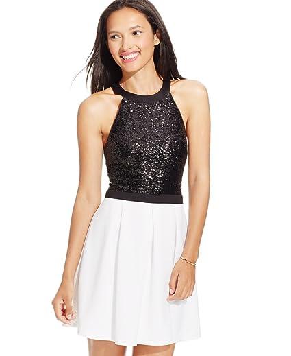 8c010509959 Amazon.com  Bee Darlin B Darlin Juniors  Sequined Scuba Fit   Flare Dress   Clothing