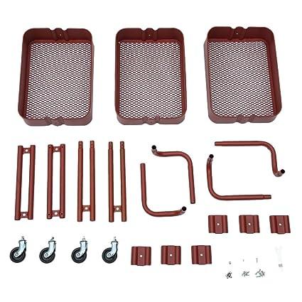 MegureSaintemillion RASKOG Carrito de Cocina Servicio IKEA 77x44x31cm 3-Niveles 4-Ruedas Rojo Marr