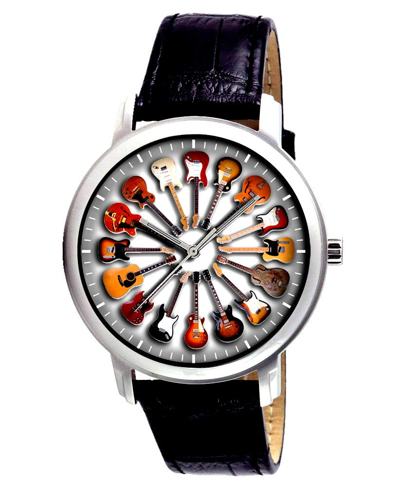 ACCESSORY FOR EVERY GUITARIST, ACOUSTIC & ELECTRIC CIRCLE OF GUITARS WRIST WATCH by DW