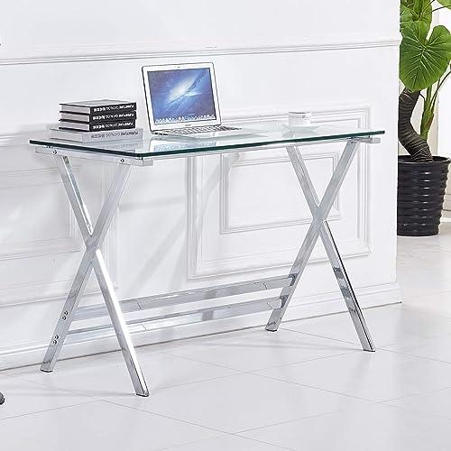 Best modern office desk: Glass Top Writing Desk,Computer Gaming Desk