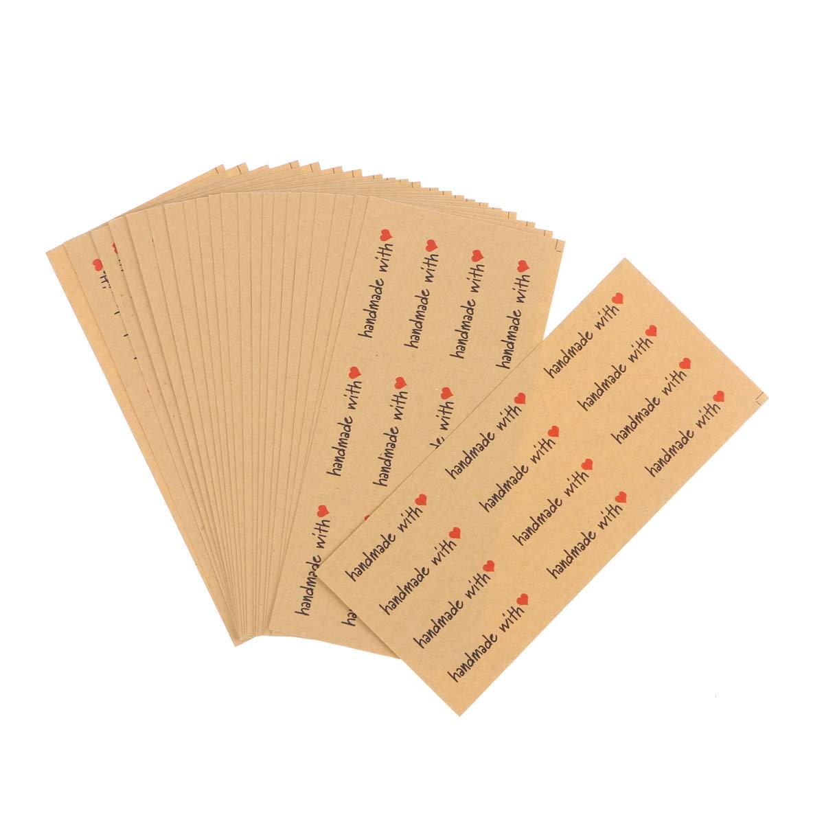 BESTOYARD Etichette Regalo adesive in Kraft 240 Pezzi (Handmade with)