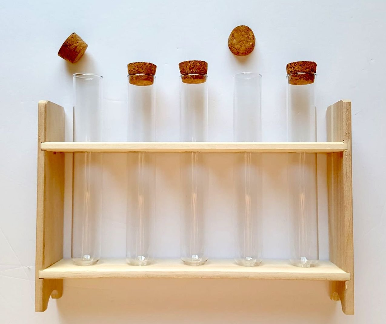 Glass Test Tubes with Corks and Stand