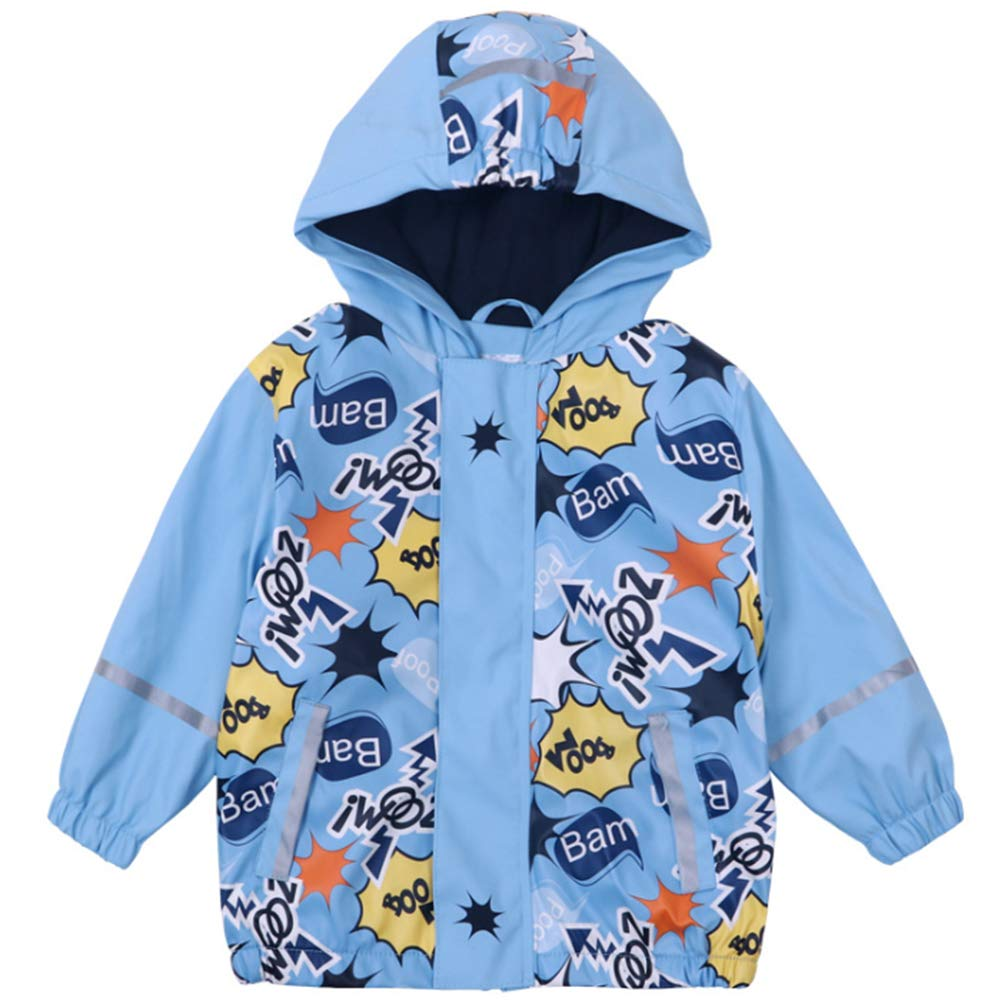 Goodkids Children Boys Waterproof Fleece Raincoat Windbreaker Autumn-Spring Warm Stripe Softshell Outdoor Jacket with Hood