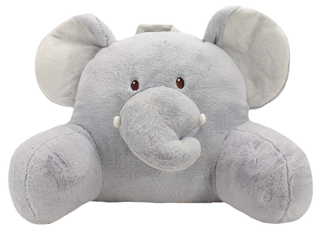 Sweet Seats Adorable Elephant Children's Plush Floor Cushion Velcro Storage Pocket on Back, Grey, 25'' W x 12.5'' D x 18'' H Children 2+