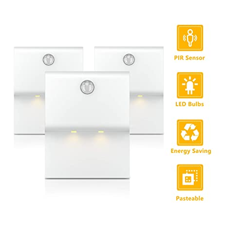 TASMOR LED Luz Nocturna con Sensor de Movimiento, 3 Modos de Iluminación Nocturna, LED Lámpara de Noche Inalámbrica con Pilas, 3 Piezas