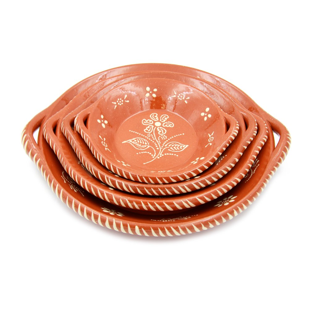 Portuguese Traditional Deep Dish With Handles Clay Terracotta Pottery Made In Portugal (N.1 8 1/8