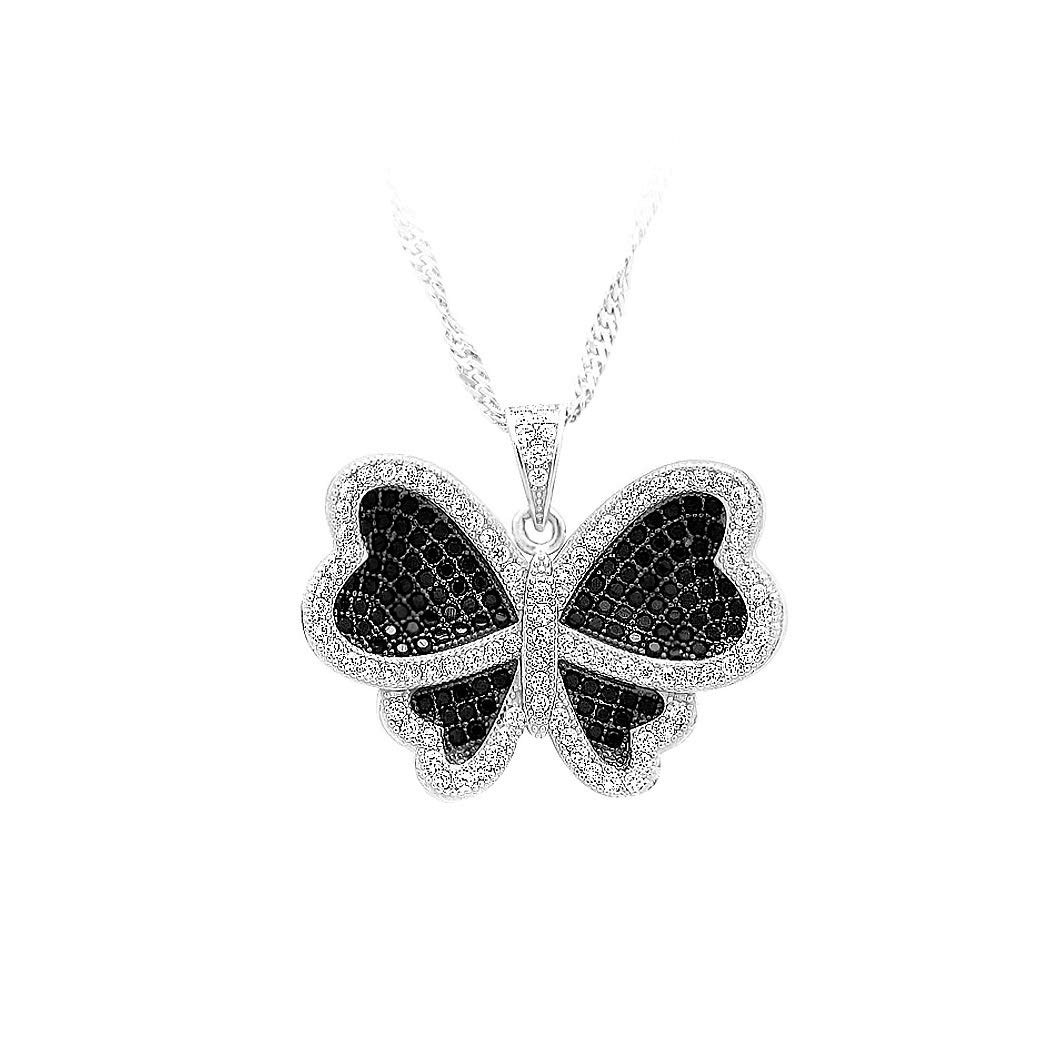 13303 Glamorousky 925 Sterling Silver Butterfly Pendant with Black and White Cubic Zircon and Necklace