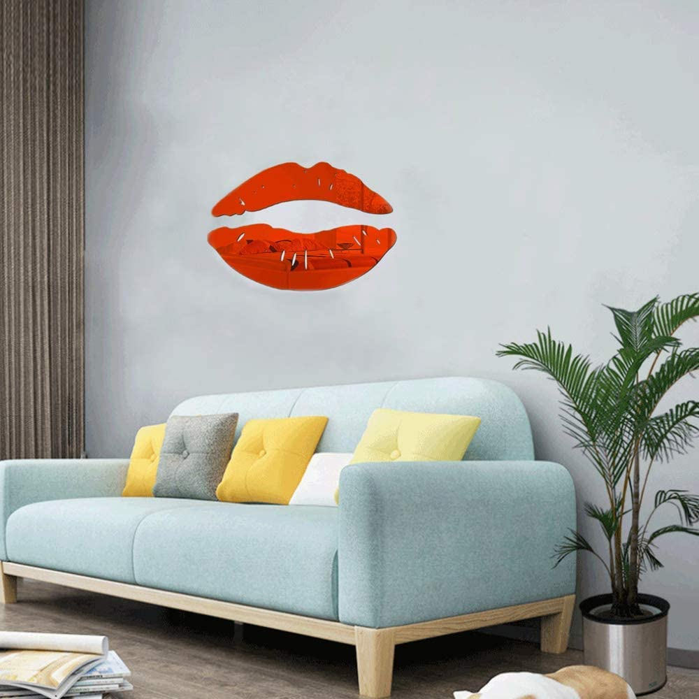 LZYMSZ Lips Mirror Wall Stickers, 2 Set 3D Large Kiss Shape Decals, Acrylic DIY Art Self-Adhesive Murals for Bedroom, Living Room, Bathroom Home Decor (Red)