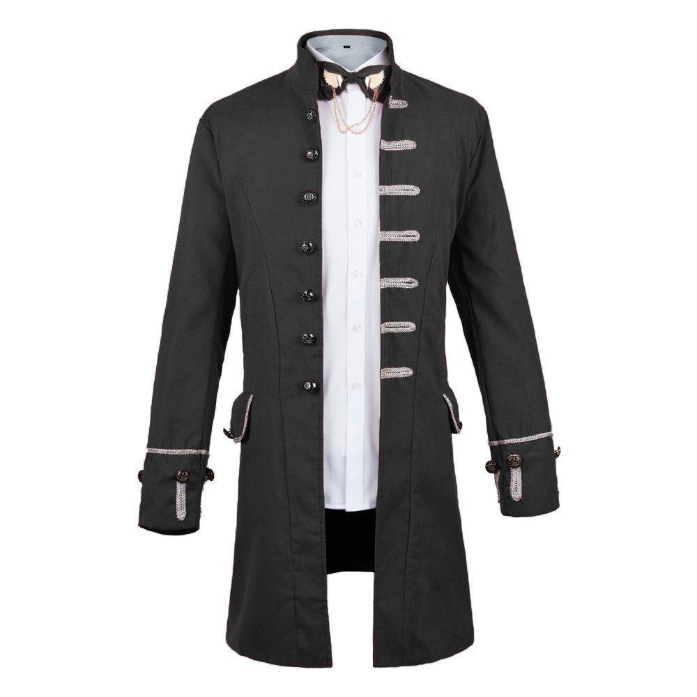 WULFUL Men's Steampunk Tailcoat Jacket Gothic Victorian Frock Coat Tuxedo Halloween Costume by WULFUL