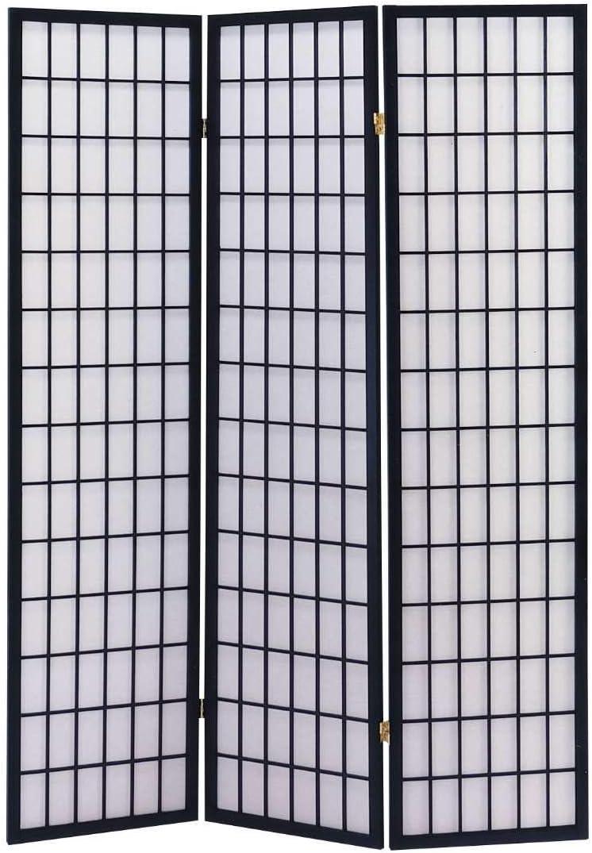 ACME 02284 71-Inch-High Black Wood Folding Screen