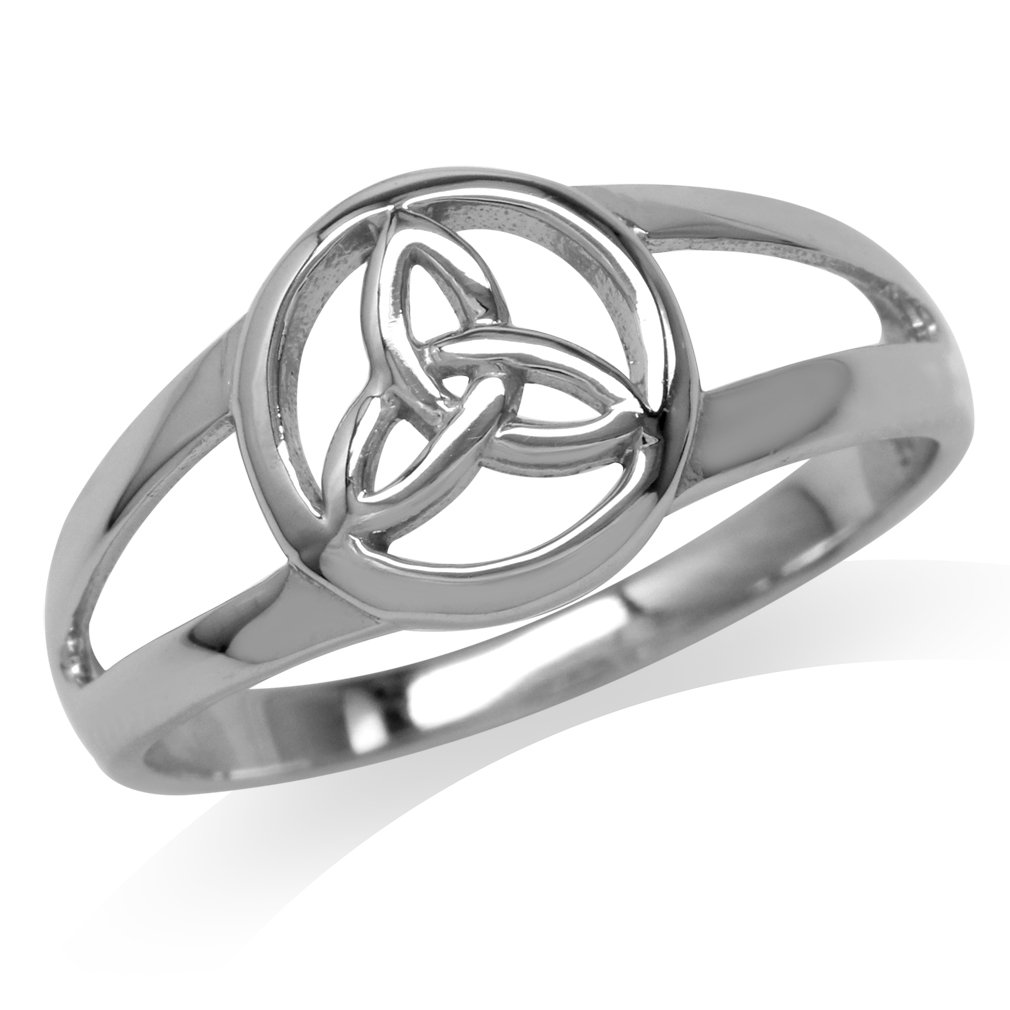 Silvershake White Gold Plated 925 Sterling Silver Celtic Triquetra Trinity Knot Ring