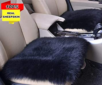 2PC Front Car Seat Pad 1PC Rear Car Seat Cover Authentic Australian Soft Wool Warm Seat Cushions Winter Protector Big Ant Sheepskin Seat Covers Full Set Universal Fit Cars Auto Supplies