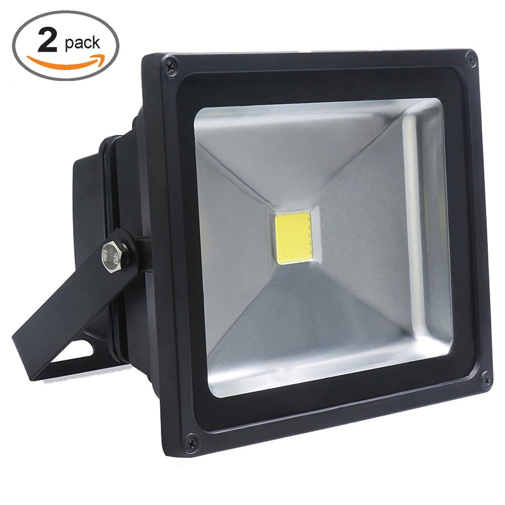 Auralum 2er-Pack 50W LED Fluter Außenstrahler, 4500 Lumen 230V IP65 Wasserdicht 6000K Kaltweiß, 10 Jahre Garantie [Energieklasse A++] Temtop