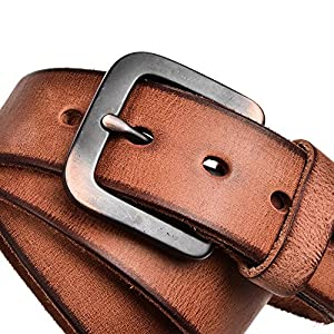 "RADYMAN Genuine Leather Mens Belt Top-end Pin Buckle Belts For Men Strap Brand (Waist 30-44"", Light Brown)"