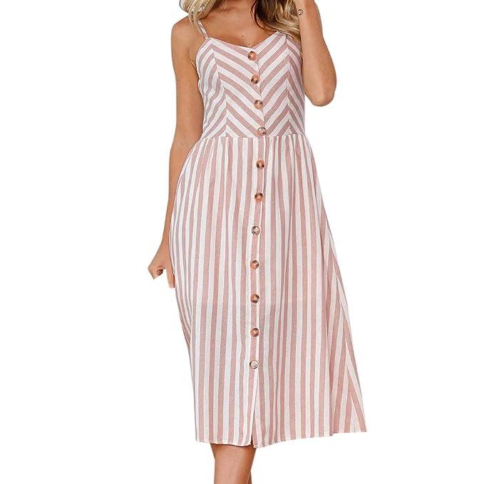 1cea69591aa Weant Abiti donna, abito vestito donna gonna lunga elegante abito rosa  dress striscia pulsante scollo