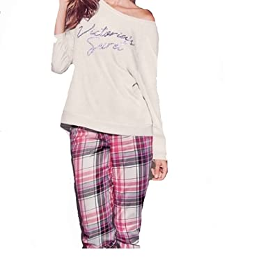 Victorias Secret Lounge Pajama Set Pants & Off White Bling Sequin The Slouchy Crew ...