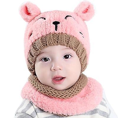 aliveGOT Baby Boy Girl Knitted Children's Cute Spire Hat+Scarf 2 Piece Set