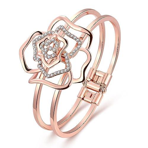 Dilanco 18K Rose Gold Plated Rose Shape Open Bangle Bracelets for Women