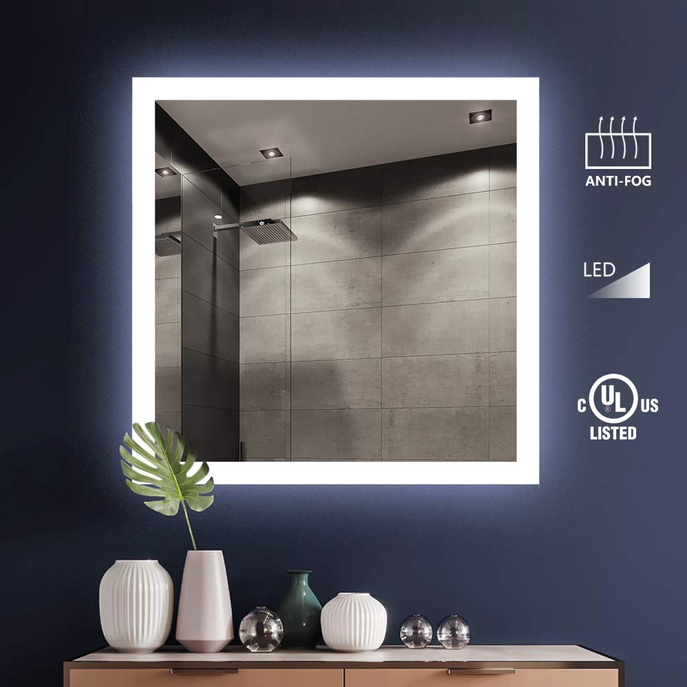 KIVA RHYME Bathroom Make Up Wall Mounted Mirror,UL Listed Square Backlit LED Mirror with Anti-Fog Function (No Touch Button),Perfect for Home Use or Hotel Supplies 36'' X 36''