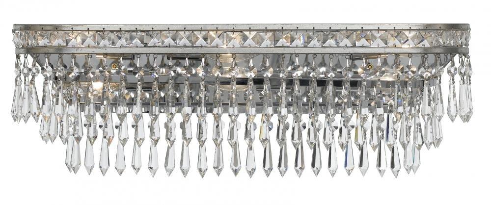 Crystorama 5265-os-cl-mwpクリスタルから6ライト壁取り付け用燭台Mercerコレクションin PWT、NCKL、B / S、slvr.仕上げ、 B00IT7W586