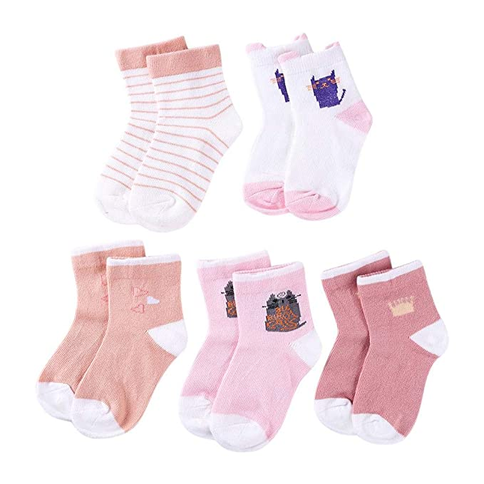 Lot 5 Pairs Baby Boy Girl Cartoon Cotton Socks Kids Toddler Infant Soft Sock