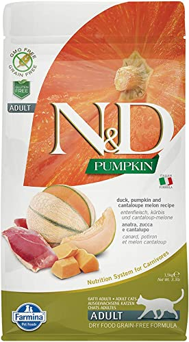 Farmina Natural Delicious Grain-Free Pumpkin, Duck and Cantelope Dry Food for Cats 3.3Lbs