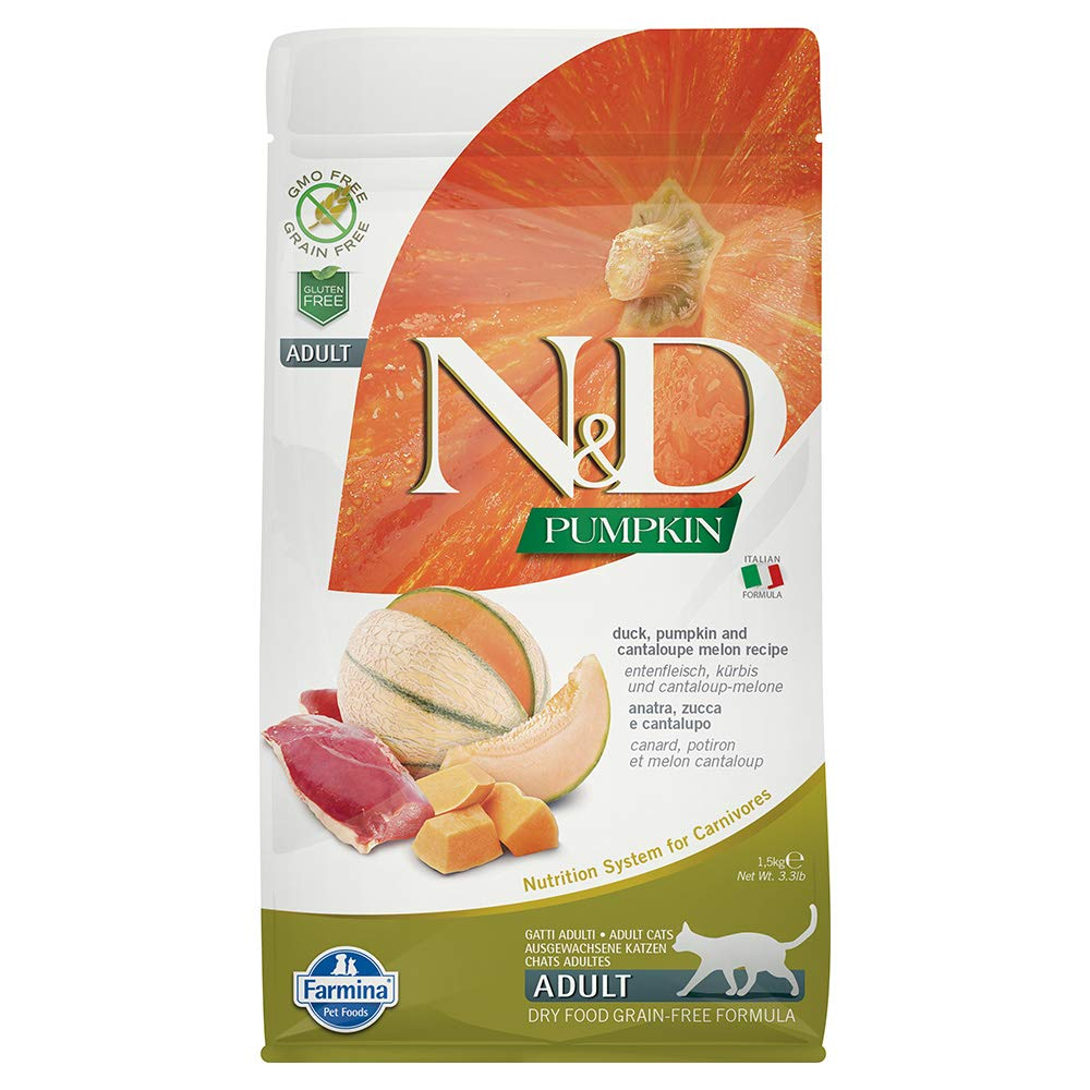 Farmina Natural & Delicious Grain-Free Pumpkin, Duck and Cantelope Dry Food for Cats 3.3Lbs