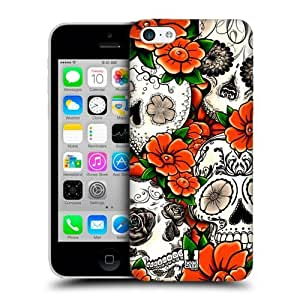Orange Florid Of Skulls Back Case Cover For Apple iPhone 5c