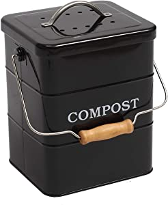Indoor Kitchen Compost Bin for Kitchen Countertop, Great for Food Scraps, Carbon Steel, Handles, White, 1 Gallon - Includes Charcoal Filter - Black