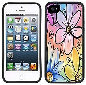 Rainbow Flowers Handmade iPhone 5C Black Case