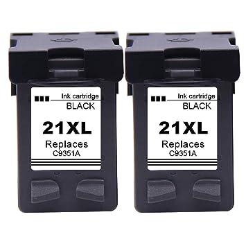 Ksera Reconstruido HP 21XL HP 21 Negro Cartucho de Tinta de Alto Rendimiento 2 Paquete (C9351A) para HP Deskjet 3940 D1530 F2280 D2360 D2460 D1460 ...
