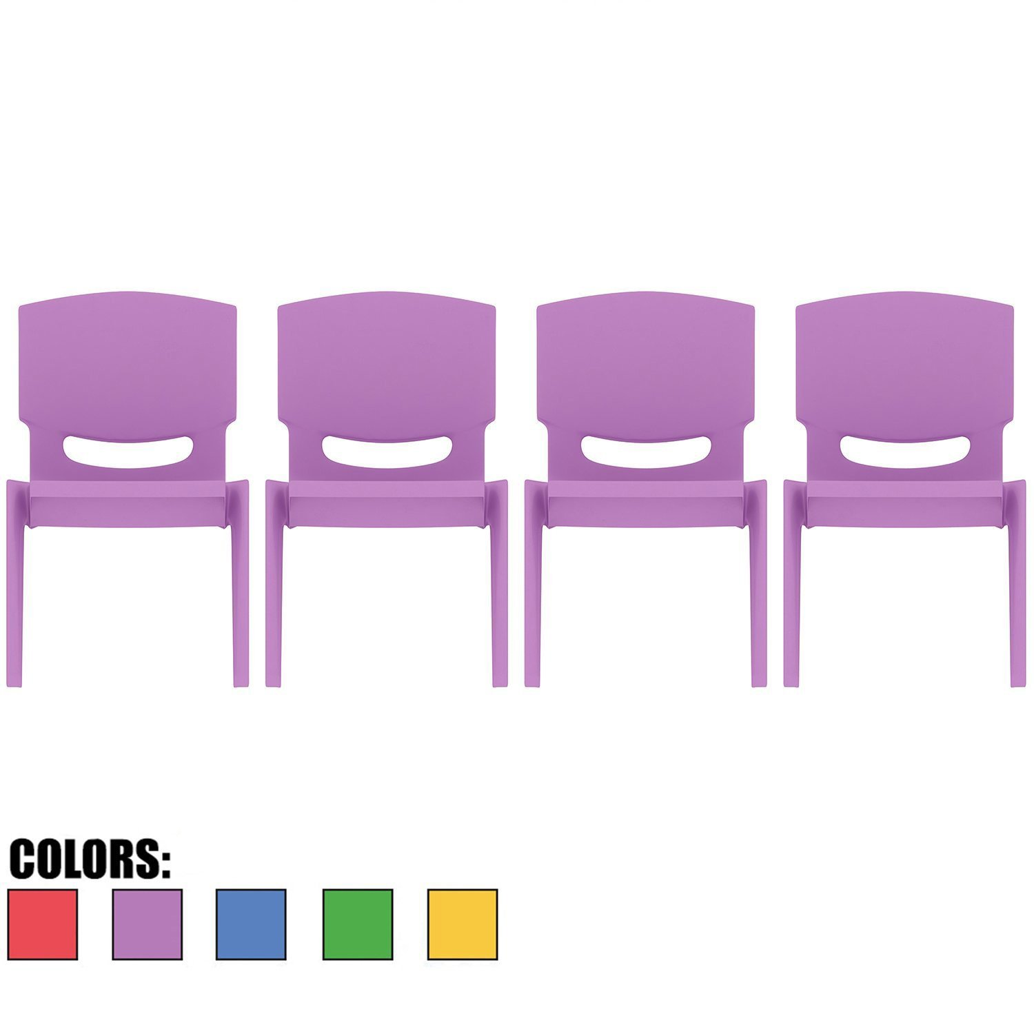 2xhome - Set of Four (4) - Purple - Kids Size Plastic Side Chair 10'' Seat Height Purple Childs Chair Childrens Room School Chairs No Arm Arms Armless Molded Plastic Seat Stackable