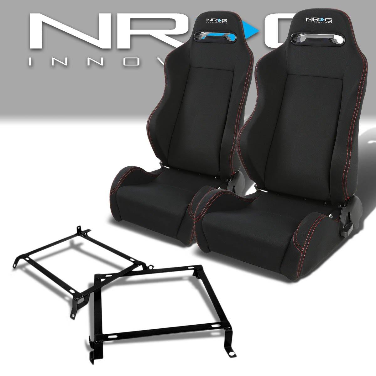 Pair of RSTRLGBK Racing Seats+Mounting Bracket for Honda Civic/Acura Integra Sedan & Coupe