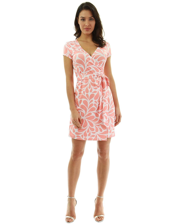 PattyBoutik Damen modisches Alltags Wickelkleid mit V-Ausschnitt und kurzen Ärmeln